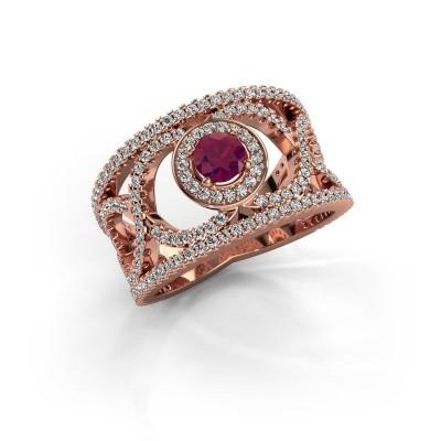 Foto van Ring Regina 375 rosé goud rhodoliet 4.2 mm