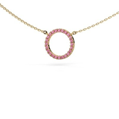 Picture of Pendant Circle 585 gold pink sapphire 1.2 mm