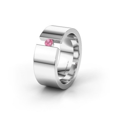 Trouwring WH0146L18BP 585 witgoud roze saffier ±8x2 mm