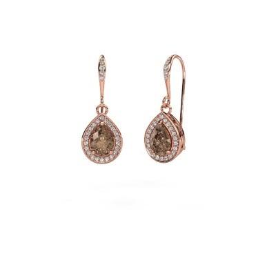 Foto van Oorhangers Beverlee 2 375 rosé goud bruine diamant 1.435 crt