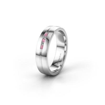 Trouwring WH0132L25B 925 zilver roze saffier ±5x2 mm