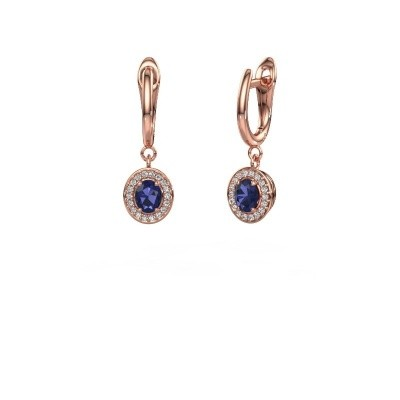 Picture of Drop earrings Nakita 375 rose gold sapphire 5x4 mm