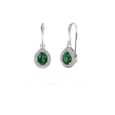 Picture of Drop earrings Beverlee 2 585 white gold emerald 7x5 mm