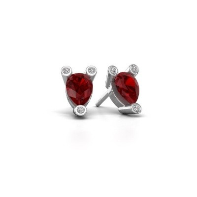 Picture of Stud earrings Cornelia Pear 585 white gold ruby 7x5 mm