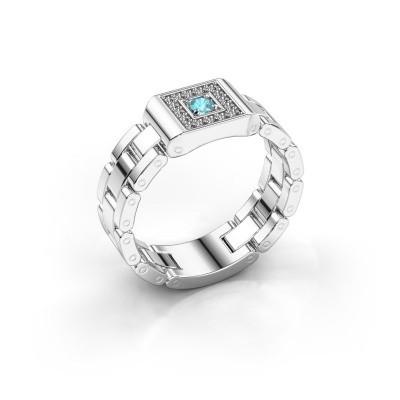 Foto van Rolex stijl ring Giel 950 platina blauw topaas 2.7 mm