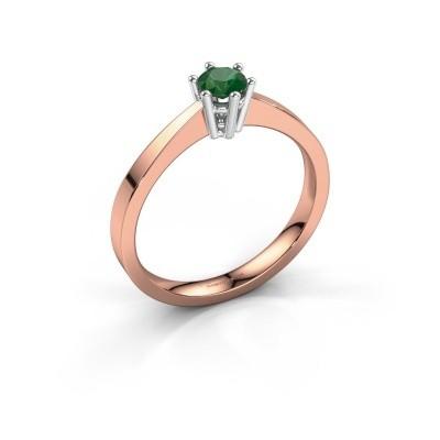 Foto van Verlovingsring Noortje 585 rosé goud smaragd 4 mm