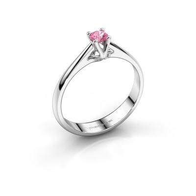 Foto van Verlovingsring Janna 1 585 witgoud roze saffier 3.4 mm