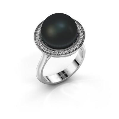 Foto van Ring Grisel 925 zilver zwarte parel 12 mm