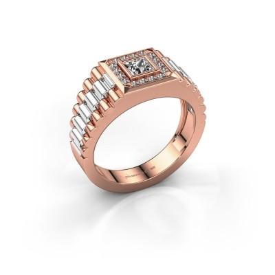 Foto van Rolex stijl ring Zilan 585 rosé goud zirkonia 4 mm