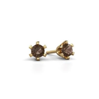 Picture of Stud earrings Shana 375 gold smokey quartz 4 mm
