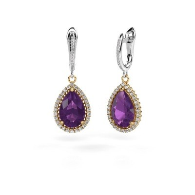 Picture of Drop earrings Hana 2 585 gold amethyst 12x8 mm
