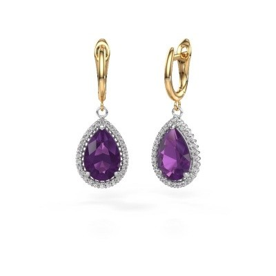 Picture of Drop earrings Hana 1 585 white gold amethyst 12x8 mm