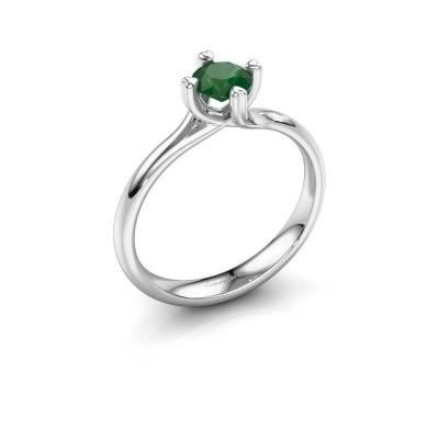 Foto van Verlovingsring Livia 585 witgoud smaragd 5 mm