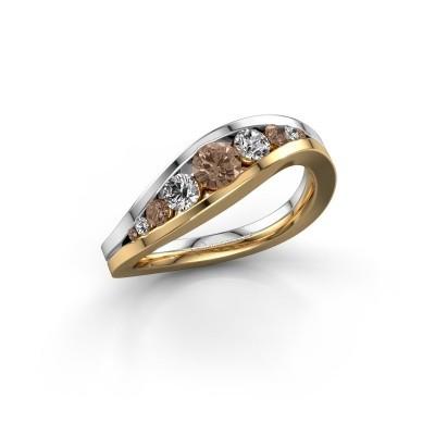 Foto van Ring Sigrid 2 585 goud bruine diamant 0.594 crt