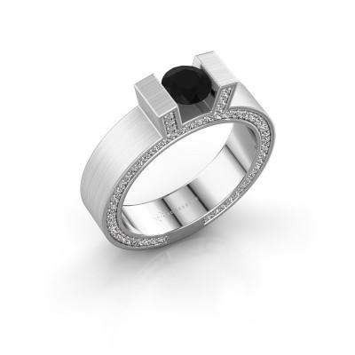 Foto van Ring Leena 2 950 platina zwarte diamant 1.18 crt