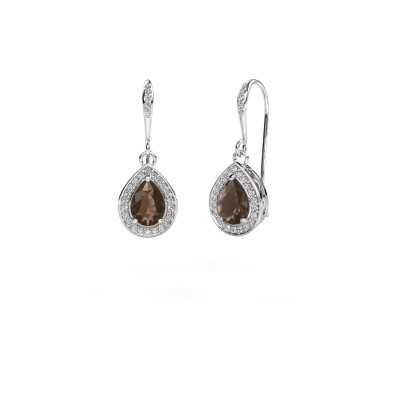Picture of Drop earrings Beverlee 2 585 white gold smokey quartz 7x5 mm