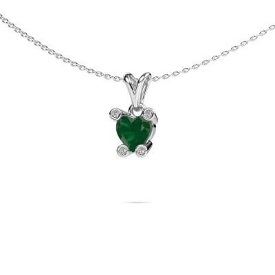 Foto van Ketting Cornelia Heart 585 witgoud smaragd 6 mm