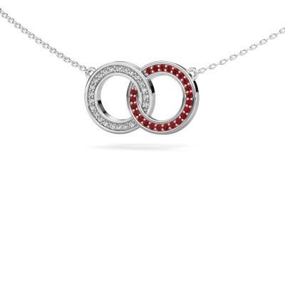 Foto van Ketting Circles 1 925 zilver robijn 1 mm