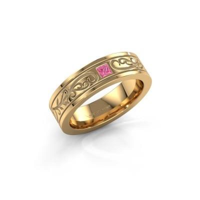 Foto van Heren ring Matijs 750 goud roze saffier 3 mm