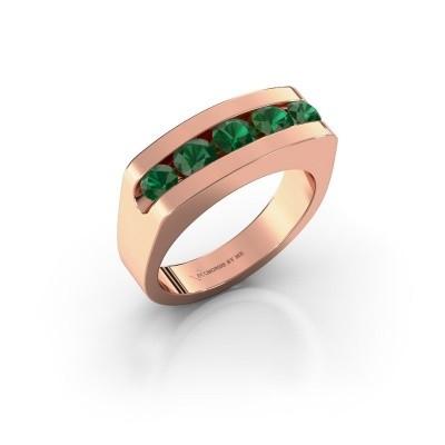 Foto van Heren ring Richard 585 rosé goud smaragd 4 mm