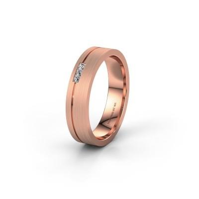 Trouwring WH0158L14X 585 rosé goud diamant ±4x1.4 mm