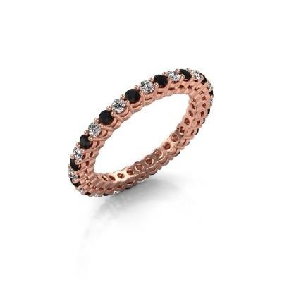 Foto van Aanschuifring Rufina 3 375 rosé goud zwarte diamant 0.986 crt