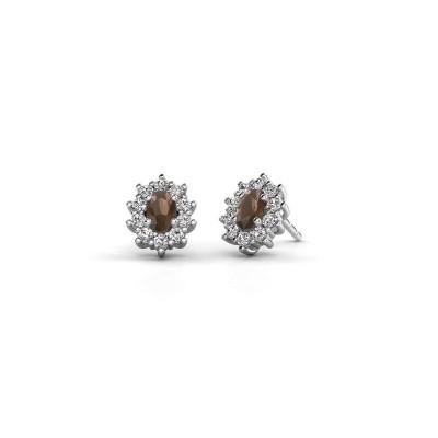 Picture of Earrings Leesa 585 white gold smokey quartz 6x4 mm