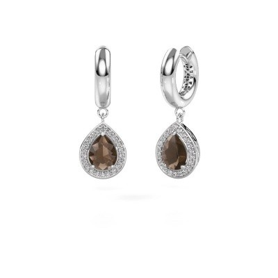 Picture of Drop earrings Barbar 1 925 silver smokey quartz 8x6 mm
