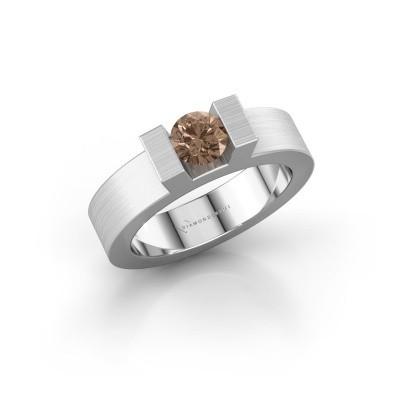 Foto van Ring Leena 1 950 platina bruine diamant 0.50 crt