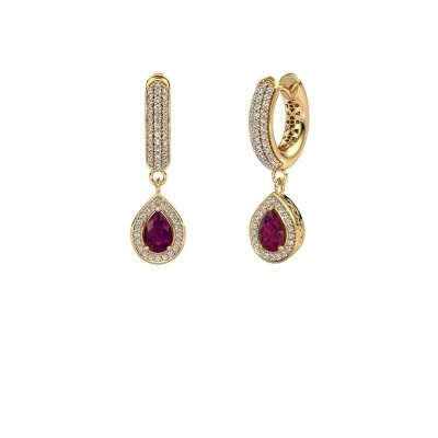 Picture of Drop earrings Barbar 2 585 gold rhodolite 6x4 mm