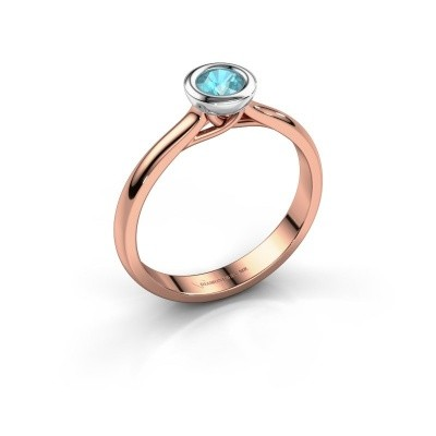 Foto van Verlovings ring Kaylee 585 rosé goud blauw topaas 4 mm