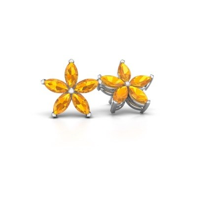 Picture of Stud earrings Sylvana 925 silver citrin 5x2.5 mm