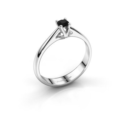 Foto van Verlovingsring Janna 1 585 witgoud zwarte diamant 0.18 crt