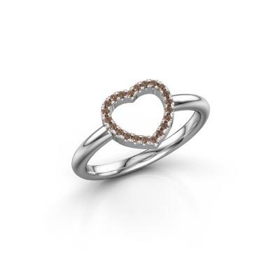 Foto van Ring Heart 7 950 platina bruine diamant 0.11 crt