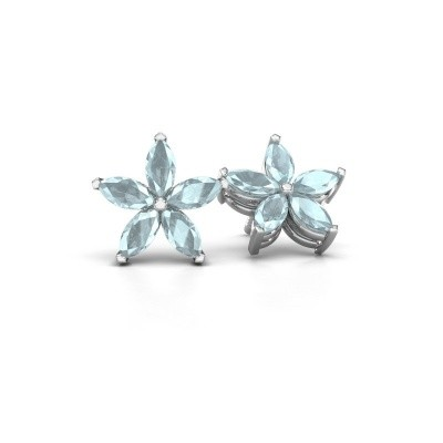 Picture of Stud earrings Sylvana 925 silver aquamarine 5x2.5 mm