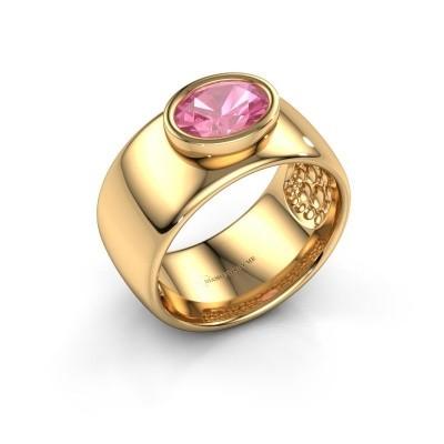Foto van Ring Anouschka 585 goud roze saffier 8x6 mm