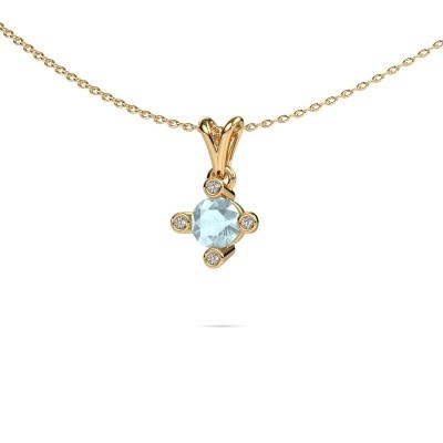 Picture of Pendant Cornelia Round 375 gold aquamarine 5.5 mm