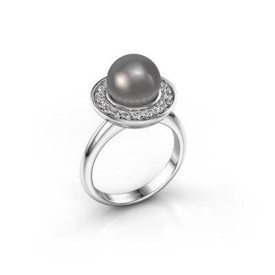 Foto van Ring Sarah 585 witgoud grijze parel 9 mm