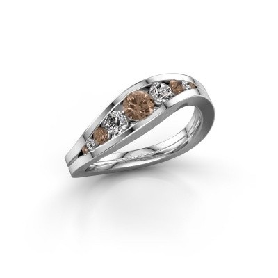 Foto van Ring Sigrid 2 950 platina bruine diamant 0.594 crt