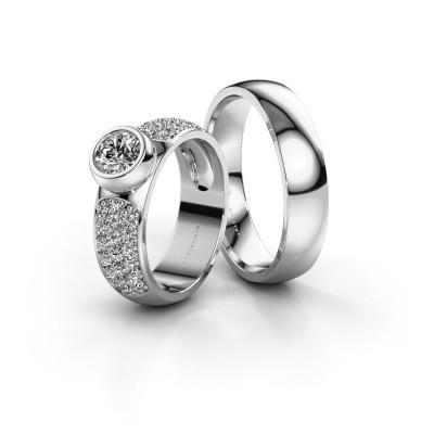 Foto van Trouwringen set WHR0751LM25AP ±5x2 mm 14 karaat witgoud diamant 0.50 crt