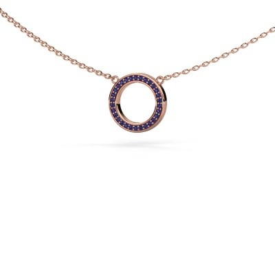 Picture of Pendant Round 1 375 rose gold sapphire 0.8 mm