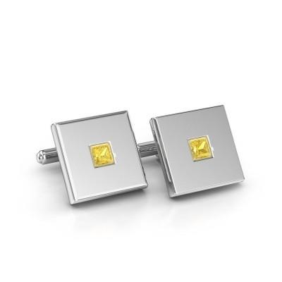 Foto van Manchetknopen Givanti 925 zilver gele saffier 4 mm