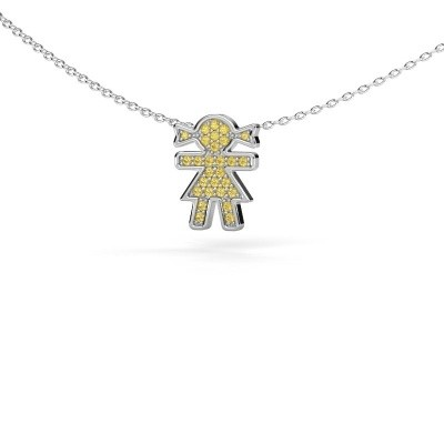 Picture of Necklace Girl 585 white gold yellow sapphire 1 mm