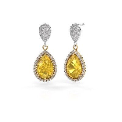Picture of Drop earrings Cheree 2 585 gold yellow sapphire 12x8 mm