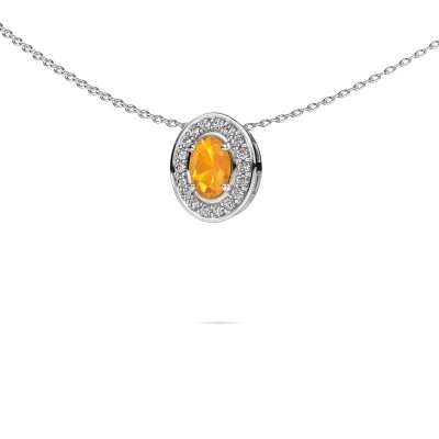 Picture of Necklace Madelon 585 white gold citrin 6x4 mm