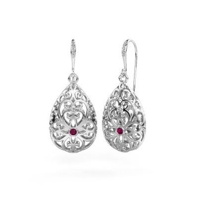 Picture of Drop earrings Idalia 2 585 white gold rhodolite 2 mm