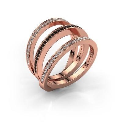 Foto van Ring Jaqueline 375 rosé goud zwarte diamant 0.588 crt