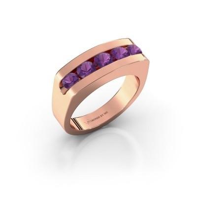 Foto van Heren ring Richard 585 rosé goud amethist 4 mm