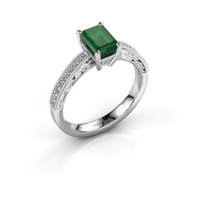 Foto van Verlovingsring Shonta EME 585 witgoud smaragd 7x5 mm