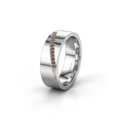 Trouwring WH2146L17A 375 witgoud bruine diamant ±7x1.7 mm